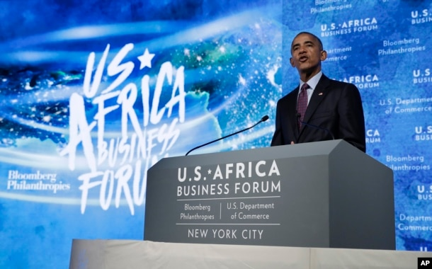 FILE - President Barack Obama speaks at the U.S.-Africa Business Forum at The Plaza Hotel in New York, Sept. 21, 2016.