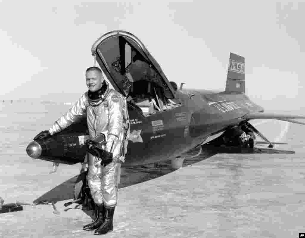 Undated image provided by NASA shows Neil Armstrong posing with a X-15.
