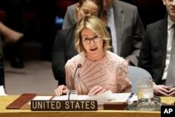 Đại sứ Hoa Kỳ tại LHQ Kelly Craft phát biểu tại một cuộc họp Hội Đồng Bảo An ở trụ sở LHQ ở New York, 11/2/2020.
