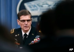 FILE - Gen. Joseph Votel speaks during a news conference at the Pentagon, April 11, 2017.