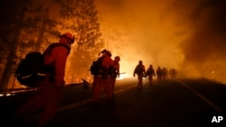 Inmate firefighters walk along Highway 120 after a burnout operation as firefighters continue to battle the Rim Fire near Yosemite National Park, California, Aug. 25, 2013.