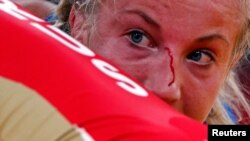 Sweden's Sofia Mattsson in the Women's 55kg Freestyle wrestling match.