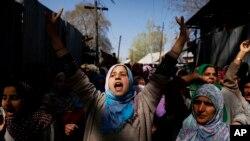 بھارت کے زیر انتظام کشمیر میں احتجاجی مظاہرہ۔ فائل فوٹو