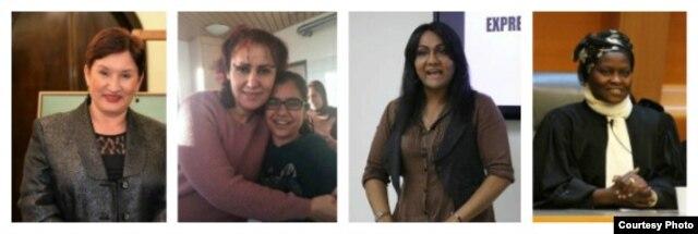 Women of Courage 2016 Awardees (L to R) Thelma Aldana, Dr. Nagham Nawzat Hasan, Nisha Ayub and Fatima M'baye