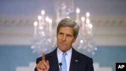 美国国务卿克里8月30日在美国国务院发表有关叙利亚问题的声明