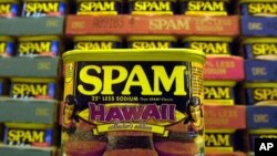"FILE - This March 3, 2004 file photo shows a collector's limited edition ""Hawaii"" can of Spam, with a hula doll on both sides of the can and a picture of three pieces of spam musubi in Kailua, Hawaii."
