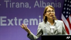 U.S. Undersecretary of State for Civilian Security, Democracy and Human Rights Sarah Sewall speaks at a news conference in Albania's capital Tirana, May 19, 2015.