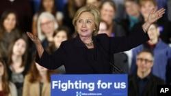 미국 민주당 대선 경선 후보인 힐러리 클린턴 미 국무장관이 지난 24일 콜로라도주 보울더 시에서 연설하고 있다. (자료사진)