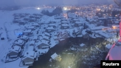 A rescue helicopter view shows the aftermath of a landslide at a residential area in Ask village, about 40km north of Oslo, Norway December 30, 2020.