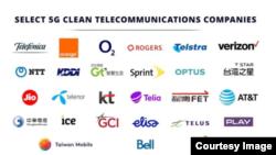 台灣5家電訊公司全部被列入美國5G清潔網絡清單(美國國務院網站截圖)