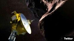Representación artística transmitida por la NASA el 21 de diciembre de 2018 de la sonda New Horizons sobrevolando Ultima Thule.
