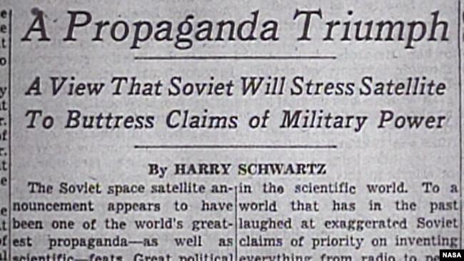 Триумф пропаганды: Советы будут использовать спутник для применения военной силы. После того, как СССР запустил первый искусственный спутник Земли, в США начали более активно работать над собственной космической программой
