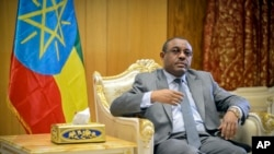 FILE - Ethiopia's Prime Minister Hailemariam Desalegn is seen in his office in the capital Addis Ababa, Ethiopia, March 17, 2016.