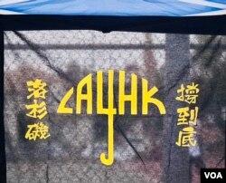 集会现场展示的力撑香港作品。(洛杉矶巴恩斯公园,美国之音2020年10月24日)