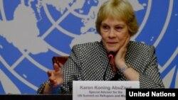 ဒုကၡသည္နဲ႔ ေ႐ႊ႕ေျပာင္းသူမ်ားဆုိင္ရာ ကုလသမဂၢ အထူးအႀကံေပး Karen Koning AbuZayd ။ ဓါတ္ပံု - (UN Web)