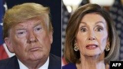 Cette combinaison de photos montre le président américain Donald Trump au siège de l'ONU à New York et la présidente de la Chambre des États-Unis Nancy Pelosi, démocrate de Californie à Washington, le 24 septembre 2019.
