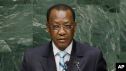 FILE - Chad's President Idriss Deby, shown addressing the U.N. General Assembly in September 2014, says the Boko Haram terrorist group has been weakened yet remains a threat.