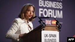 La secrétaire d'Etat espagnole au Commerce, María Luisa Poncela, à Londres 13 juillet 2017.