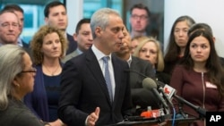 Chicago Mayor Rahm Emanuel speaks at a news conference, Nov. 14, 2016, in Chicago. The former White House chief of staff under President Obama said the outcome of the U.S. presidential election will not impact Chicago's commitment as a sanctuary city.