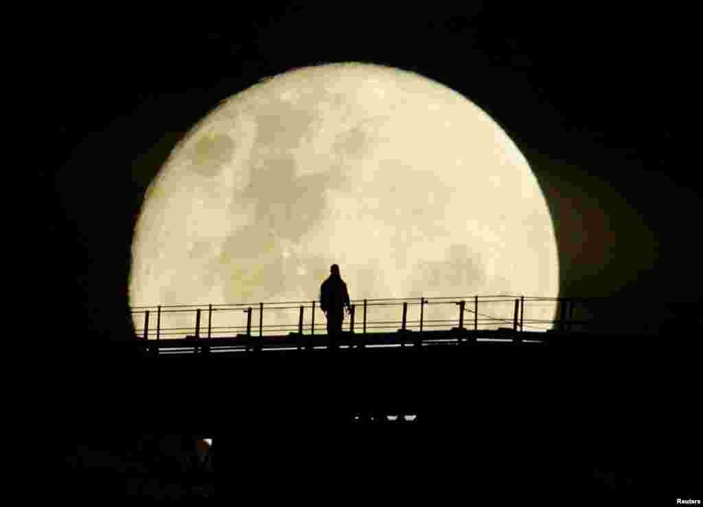 A man walks on the top span of the Sydney Harbour Bridge as the supermoon enters its final phase in Sydney, Australia.