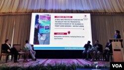 BPN Prabowo-Sandi membeberkan sejumlah temuan kecurangan dalam Pilpres 2019, di Jakarta, Senin (22/4) (Foto: VOA/Ghita).