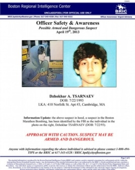 Dzhokhar Tsarnaev is seen in this law enforcement bulletin, distributed in the days after the April 15, 2013, bombing.
