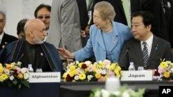 Thổng thống Afghanistan và Thủ tướng Nhật Bản Yoshihiko Noda tại Hội nghị quốc tế ở Tokyo, ngày 8/7/2012