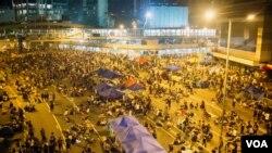 香港佔領運動聚集著大量抗議民眾