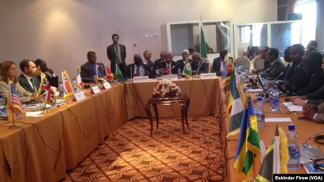 FILE - The expanded mediation team for South Sudan, IGAD-Plus, meets in Addis Ababa on July 23, 2015, to hammer out details of a compromise deal for the young nation.