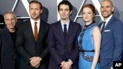 """Producer Marc Platt, Ryan Gosling, Writer/Director Damien Chazelle, Emma Stone and Producer Fred Berger seen at Summit Entertainment, a Lionsgate Company, Presents the Los Angeles Premiere of """"La La Land"""" at Village Theater, Dec. 6, 2016, in Los Angeles."""