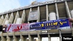 El estadio Santiago Bernabeu en Madrid, antes de la final de la Copa Libertadores entre el River Plate y el Boca Juniors, el domingo 9 de diciembre de 2018. Foto: @danibosque.