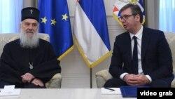 Patrijarh SPC Irinej i predsednik Srbije Aleksandar Vučić na sastanku u Predsedništvu (izvor: sajt Predsedništva Srbije)