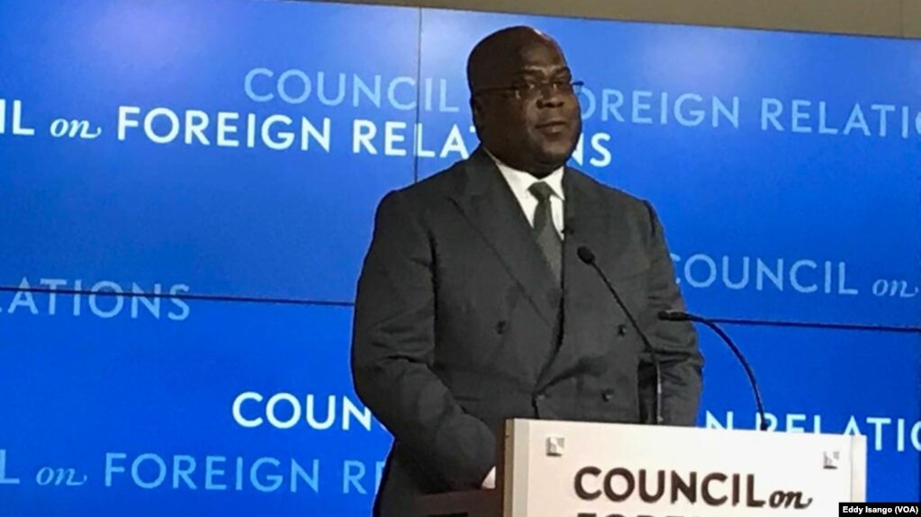 Le président Félix Tshisekedi de la RDC lors d'une conférence au Conseil sur les relations étrangères, Washington, le 4 avril 2019. (VOA/Eddy Isango)
