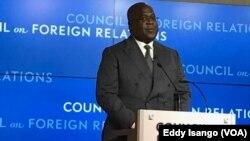 Le président Félix Tshisekedi ya RDC na botani na Président Félix Tshiseked, Washington, le 4 avril 2019. (VOA/Eddy Isango)