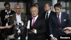 Direktur Badan Atom PBB (IAEA) Yukiya Amano dalam suatu jumpa pers setibanya dari Teheran di bandara internasional Wina (22/5).
