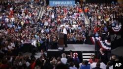 奥巴马9月26日在俄亥俄州的博林格林州立大学发表竞选演说