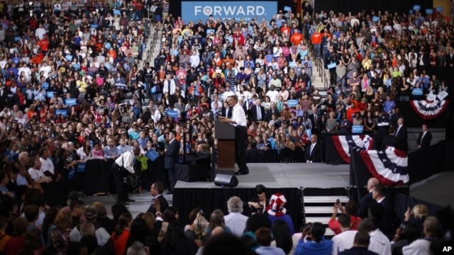 President Barack Obama speaks at a campaign event at Bowling Green State University in Bowling Green, Ohio, September 26, 2012.