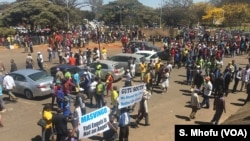 "Members of ZANU-PF party march in Harare chanting songs to show support for first lady Grace Mugabe. They hold placards saying ""Gabriella Engels is not an angel."""