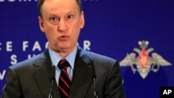 FILE - Nikolai Patrushev, head of Russia's Security Council, is seen speaking at a defense conference in Moscow.