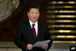 FILE - Chinese President Xi Jinping speaks with reporters in Tehran, Iran, Jan. 23, 2016. In recent years Xi has cracked down on corruption, but authorities also have censored news stories by foreign publications that explore financial gains by top officials and their relatives.