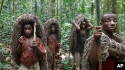 Des pypmées Mbuti apperçus, portant des filets de la chasse sur la tête, dans la réserve Epulu, habitat naturel des Okapi, dans le Nord-Est de la RDC