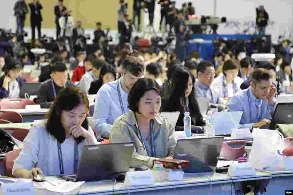 مرکز خبرنگاران بین المللی برای پوشش نشست رهبران دو کره در سئول
