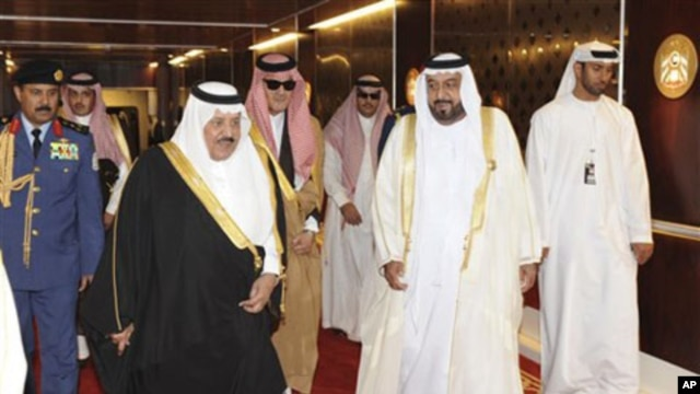 UAE President Sheikh Khalifa bin Zayed Al Nahyan, 2nd right, walks with Saudi Arabia's Prince Nayef bin Abdul Aziz, 3rd left, and Saudi Foreign Minister Prince Saud Al Faisal, 4th left, during the 31st Gulf Cooperation Council, GCC, summit in Abu Dhabi, U