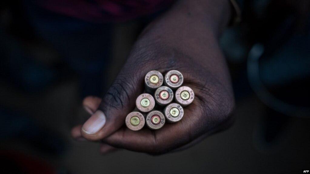 Des cartouches de AK-47 retrouvés sur les lieux de l'attaque à Beni, le 23 décembre 2018.