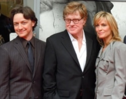 "James McAvoy, Robert Redford and Robin Wright at the premiere of ""The Conspirator"" at Ford's Theatre in Washington last Sunday"