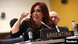 Argentina's President Cristina Fernandez attends a Special Committee on the Situation with regard to the Implementation of the Declaration on the Granting of Independence to Colonial Countries and Peoples at the U.N. headquarters in New York June 14, 2012