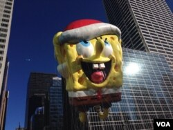 The SpongeBob SquarePants giant balloon at Macy's Thanksgiving Parade, Nov. 28, 2013. (Photo Sandra Lemaire)