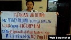 Bà Nguyễn Thị Loan, mẹ của tử tù Hồ Duy Hải, liên tục kêu oan cho con. Photo Kiem Sat