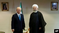 Tổng thống Iran Hassan Rouhani, phải, đón tiếp Giám đốc IAEA Yukiya Amano tại Tehran, Iran, hôm 2/7.