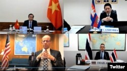 Trợ lý Ngoại trưởng Hoa Kỳ David Stilwell và các đối tác Việt Nam, Campuchia, Thái Lan tham gia thảo luận trực tuyến về Sáng kiến Hạ vùng Mekong. Photo Twitter EAP Bureau.